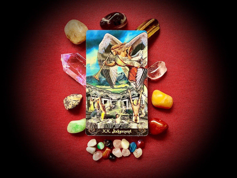 The Judgment Card: Tarot Illuminati Deck By Kim Huggens (Author) Erik C. Dunne (Author)