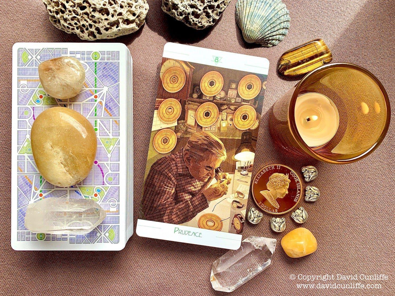 Tarot, the Eight of Pentacles.