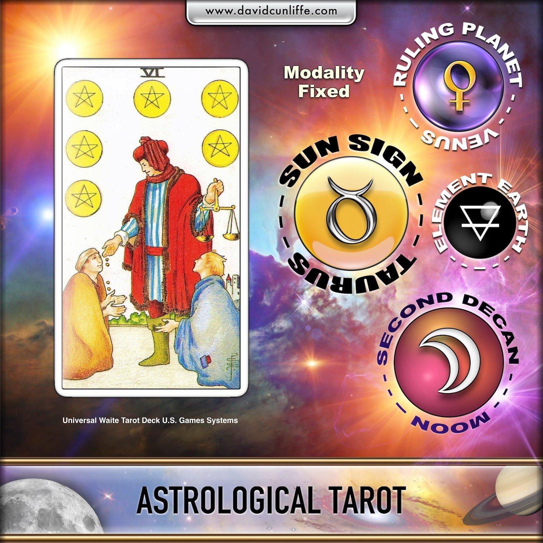 Six of Pentacles: Astrological tarot.